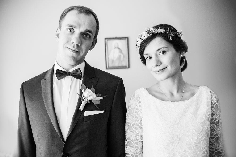 Czarno biały portret pary młodej z Czarnkowa monidiło