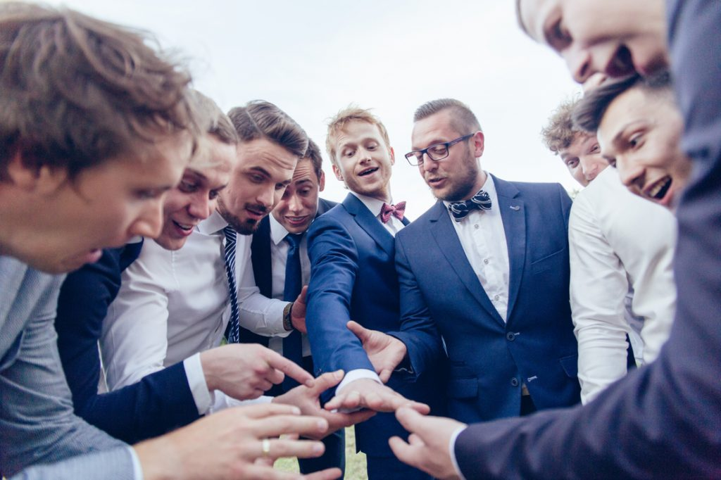 Picture of the groom with his friends. Wedding photography photographer Krotoszyn
